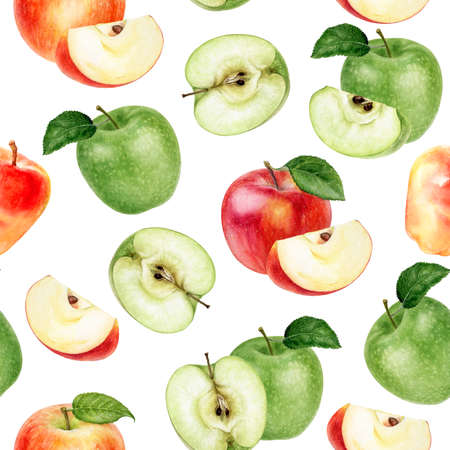 Watercolor seamless pattern apples isolated on white. Zdjęcie Seryjne