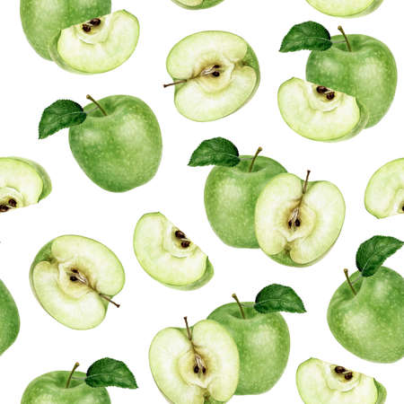 Watercolor seamless pattern green apple isolated on white. Zdjęcie Seryjne