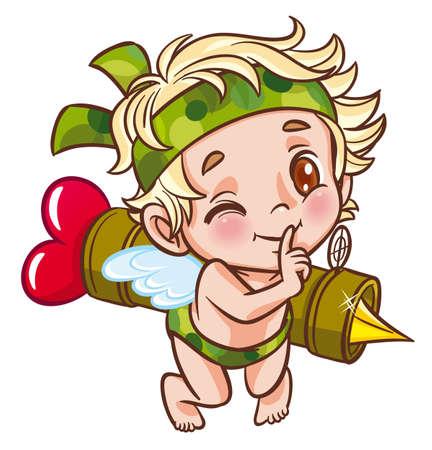Angel militair met bazooka Vector Illustratie