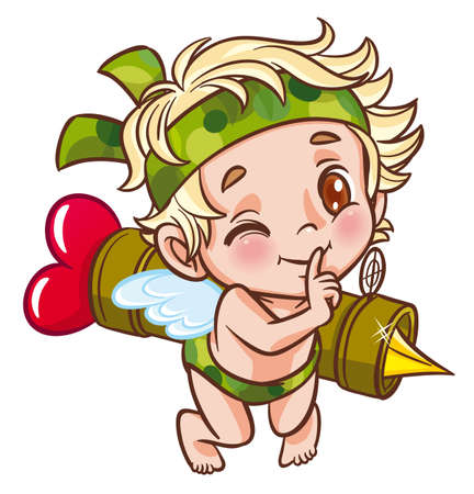 naughty child: angel soldier with bazooka Illustration