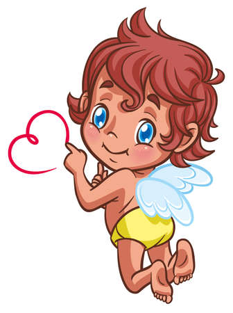 baby angel: little angel drawing heart with finger
