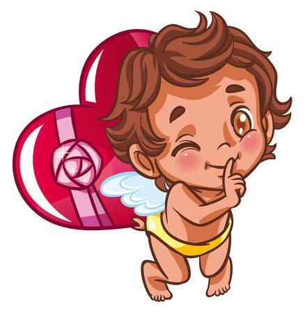 affetto: Angel holding cuore dono dietro la schiena