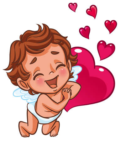 Cupid smiling happily Vector