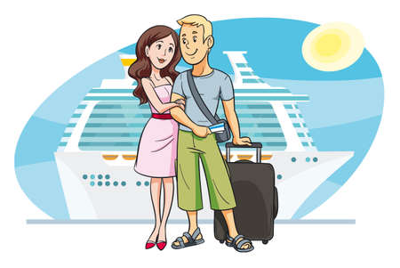 romantic getaway: Young couple going on vacation by cruise boat Illustration
