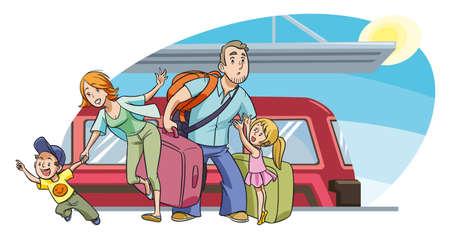 Familia joven con dos hijos irse de vacaciones en tren