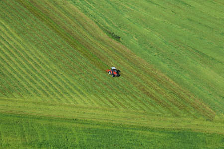 Aerial photo of meadow grass landscape and farmer in tractor mowing green grass field after the cut grass can dry and be picked up so it can be used as fodder farming Stock Photo