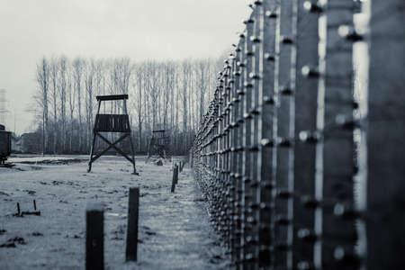 A watchtower in concentration camp Auschwitz Birkenau Polen, March 12, 2019 Imagens - 121979289