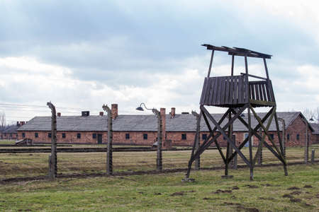 A watchtower in concentration camp Auschwitz Birkenau Polen, March 12, 2019