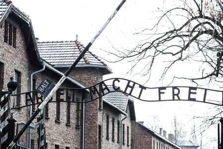 Auschwitz, Poland March 12 2019 Auschwitz Concentration Camp Arbeit Macht Frei Entrance Gate Editorial