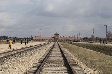 Rail entrance to concentration camp at Auschwitz Birkenau KZ Poland March 12, 2019