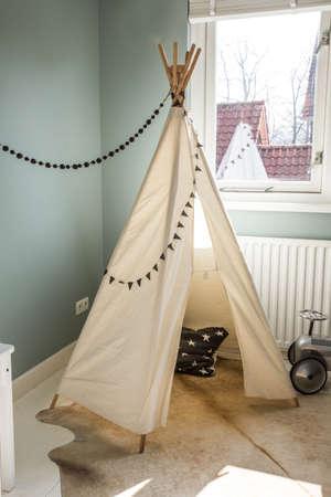 Childrens Teepee tent, play tent for children, scandanavian design Reklamní fotografie - 121674946