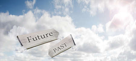 Concept image of Future Past and Present on a signpost against the sky with sunlight 3d rendering