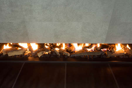 Modern and luxury fireplace, close up, modern design