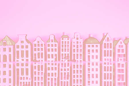 Stunning skyline of historic buildings Pink background
