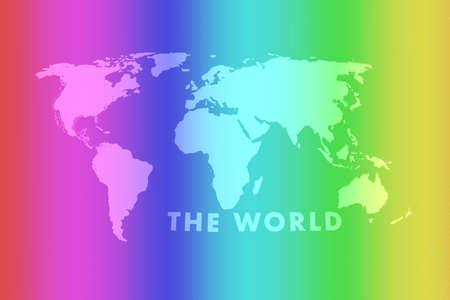 waving colorful gay rainbow flag of on a gray world map background texture,