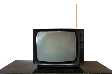 Black old vintage television isolated on white background. Retro design, space for text