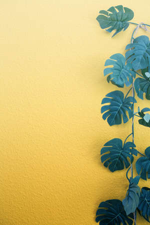 Bright yellow painted wall framed with green tropical palm leaves, sunlight with shadows patterns, summer background. retro design