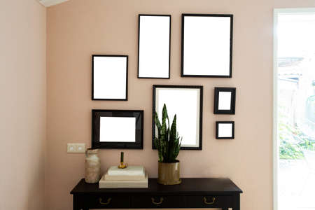collection of various blank black frames on wall with modern decoration, green plant in a lovely home