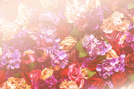 Background of pink orange and peach roses, romantic dreamy design for valentine concept