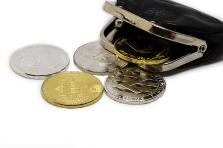stack of cryptocurrenciesm bitcoin and altcoin together, isolated on white with black wallet