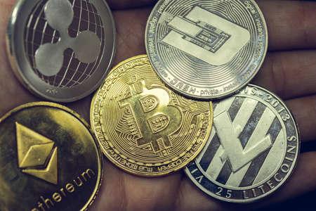 Cryptocurrency coins - Litecoin, Bitcoin, Ethereum, virtual money Reklamní fotografie