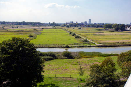 View of nature reserve Bossche Broek close to the city center of Den Bosch. Green nature landscape Фото со стока