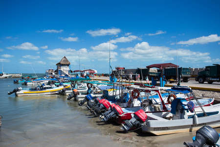 Mexico March 20 2017 the bay with fishing boats, harbor