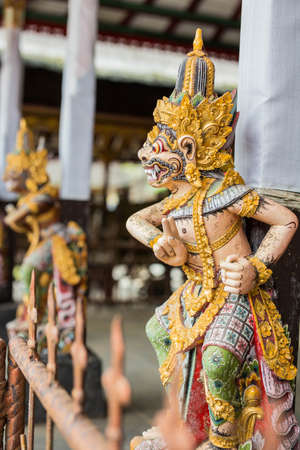 Indonesia Bali Sept 20 2019, Closeup of Balinese God statue in temple complex, hindu god statue