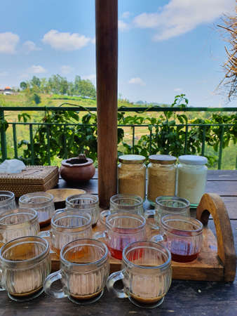 Traditional Balinese Coffee and Tea testing, Bali indonesia with beautiful view