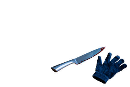 Blood on the blade of a knife and black glove. bloody knife horror theme isolated on white background, space for text Stok Fotoğraf