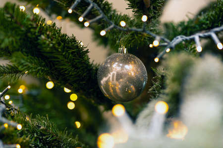 One bright ball hanging in the green christmas tree, close-up christmas decoration background beauty Stok Fotoğraf