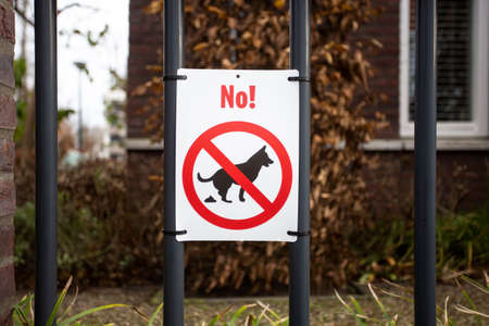 Warning label, No dog pooping sign in park for dog owners