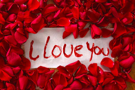 The text I love you surrounded with red rose petals, romantic concept top view valentines background