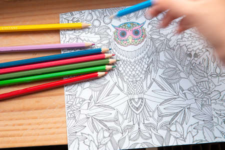 An image of a new trendy thing called adults coloring book. In this image a person is coloring an illustrative and detailed pattern for stress relieve for adults. Female hand drawing a coloring book close-up