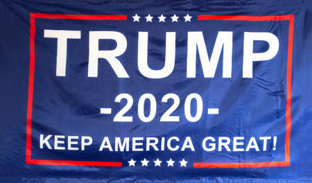 Trump flag for President 2020, keep America Great, presidential election, flag isolated on white background texture