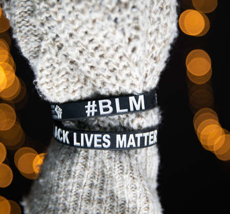 Black lives Matter movement wristband bracelets, sayitbands in black and white, background concept for antiracism