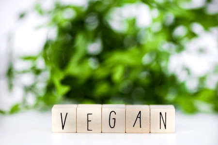 Vegan concept and veganism lifestyle, Vegan text on white background eating green biological natural food with copy space closeup