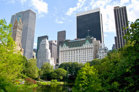 new york city panorama: New York City buildings from Central park Stock Photo