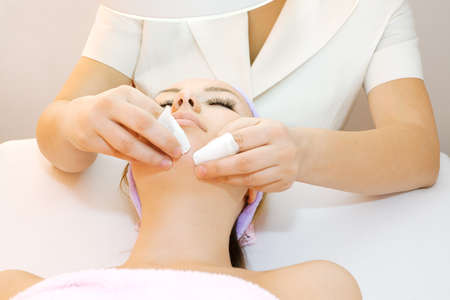 anti ageing: Woman receiving cleansing therapy Stock Photo