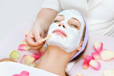 healthcare and beauty: Facial treatment Stock Photo