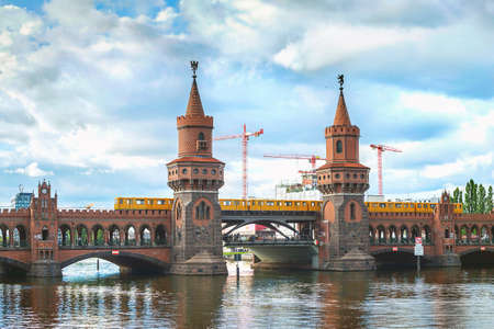 or spree: Oberbaum bridge, train and river Spree in Berlin, Germany