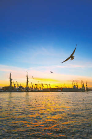 Sunset in Hamburg, Germany Stock Photo