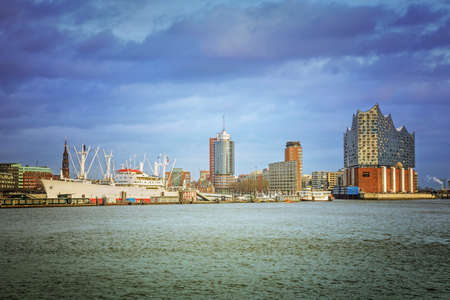 Hamburg harbor, view from Elbe