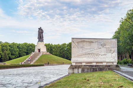 Treptower park on August 7, 2013 in Berlin. Famous Treptower park, a Soviet memorial in Berlin.