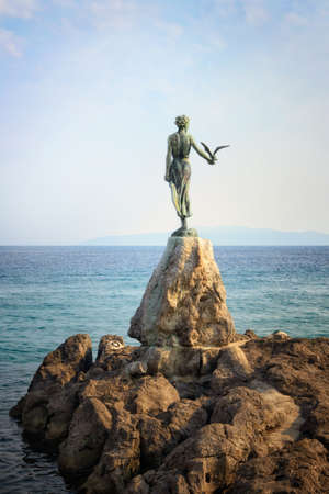 Maiden with the seagull, symbol of Opatija in Istria, Croatia