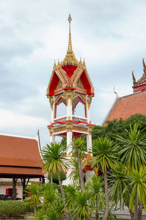 Vertical view of the bell tower at Chalong temple, Phuket, Thailand Stock Photo