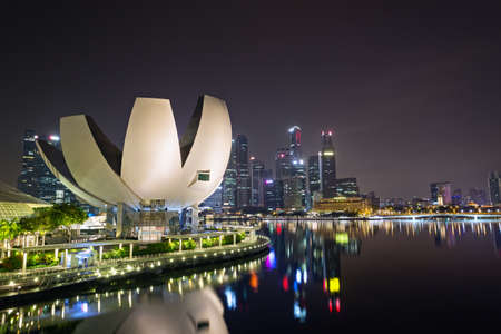 ArtScience museum and skyscrapers at Singapore city at night