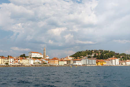 Town of Piran, Slovenia, view from the sea Imagens