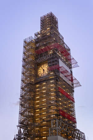 Big Ben under construction, London, UK