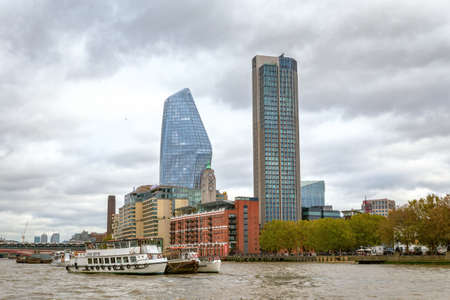 London, United Kingdom - October 27th 2018: Oxo Tower Wharf, South Bank Tower and One Blackfriars skyscraper on the south bank of the River Thames in London Editorial